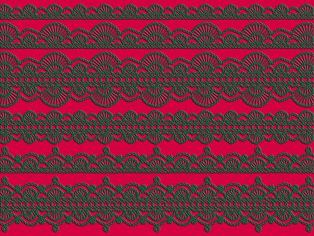 intense: Christmas background with green crochet laces over intense redish magenta background