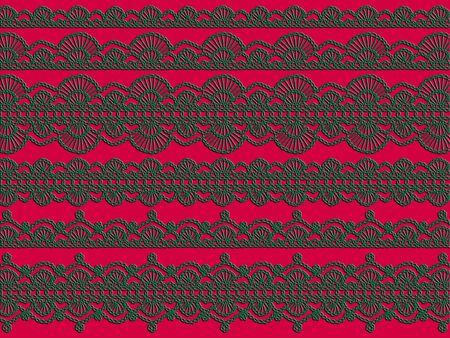 lineas decorativas: De fondo de Navidad con los cordones de crochet verde sobre fondo rojizo intenso color magenta