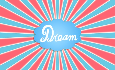 Dream concept, cloud balloon, red, white, blue photo