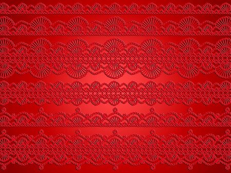 textil: Red crochet background with crochet delicacy and elegance Stock Photo