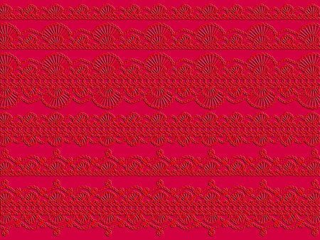 digitals: Red background with old crochet laces Stock Photo
