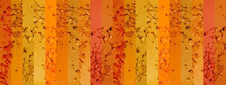 portada: Long orange background with water drops in banners