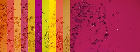 instrospection: Warm long background with banners in pink, red and orange with drops splash