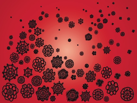 similitude: Black and red background with crochet Stock Photo