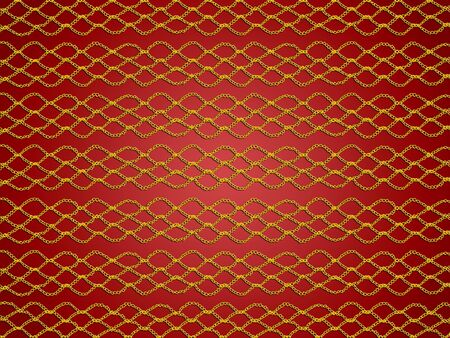 Golden simple crochet web pattern over red background photo