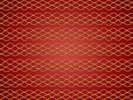digitals: Golden simple crochet web pattern over red background