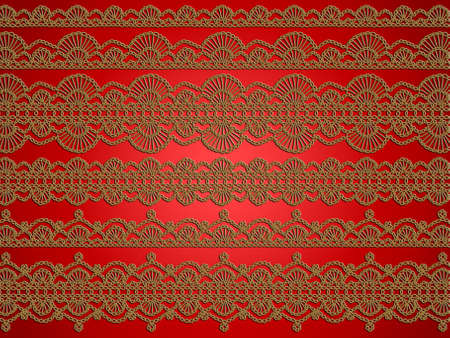 sofisticated: Elegant crochet laces over red background