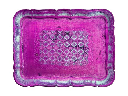 purpleish: Pink painted old wood tray on white