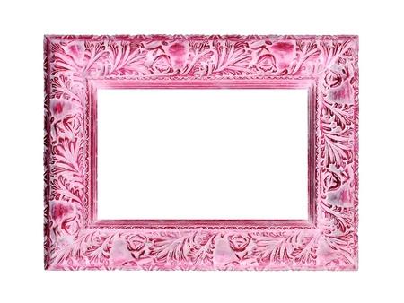 Doux cadre rose en bois vintage isolée sur fond blanc Banque d'images - 12808007