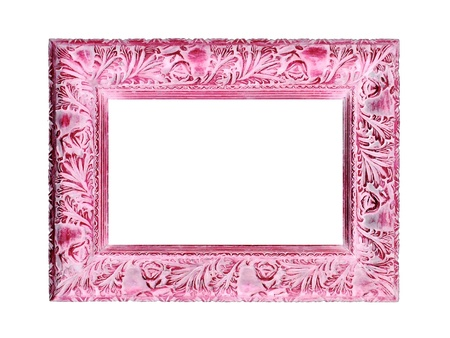 Soft pink vintage wood frame isolated on white background photo