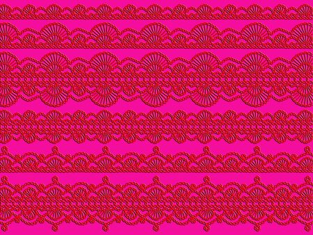 sofisticated: Red crochet patterns over pink backdrop Stock Photo