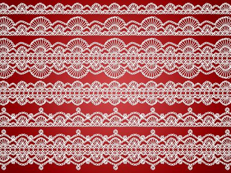 purls: White elegant crochet laces over dark sober red background Stock Photo
