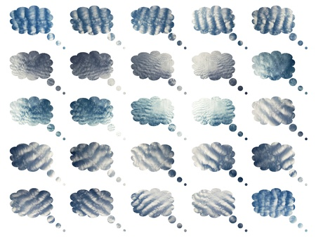 Cottoned soft blue clouds set isolated over white background Stock Photo - 12807937