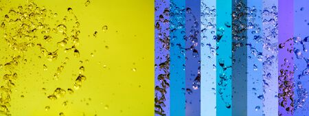 Yellow and blue backgrounds with water splash