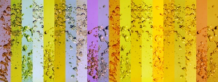 Yellow, gold, and purple banners in a background with liquid splash Stock Photo