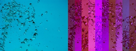 instrospection: Blue and purple background with water drops splashing Stock Photo