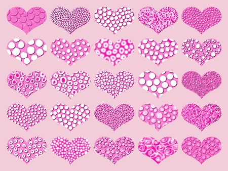 Pink set of textured hearts as romantic background or design ornament Stock Photo - 12807898