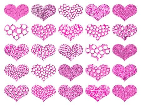 Fuchsia  hearts Stock Photo