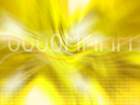 echoes: Om, 0, 1, computing, binary system, yellow, luminous background Stock Photo