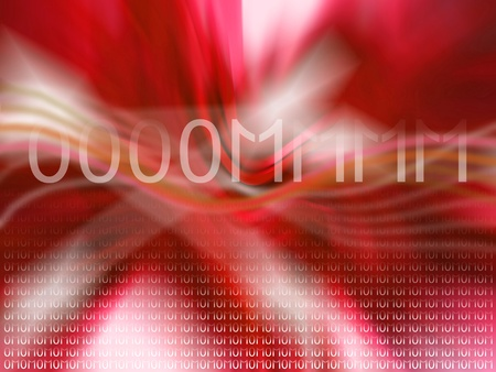 Om of zero and one reverberating over abstract red blurry background photo
