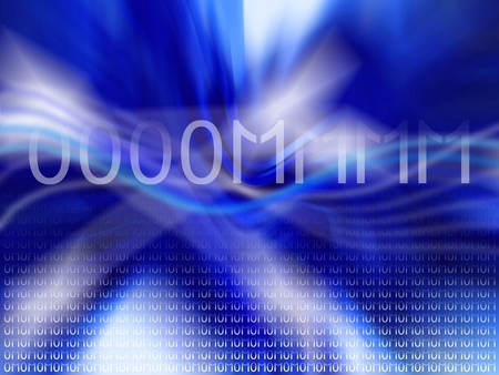 Dark blue dinamic background with mantra om in binary code photo