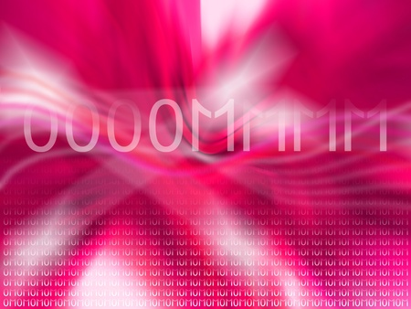 Intense pink abstract background with mantra om in binary code photo