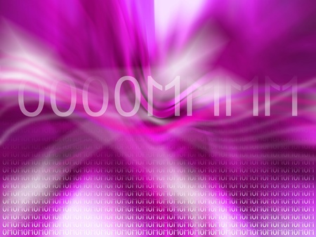 Pinkish purple dinamic abstract background with om in binary code photo