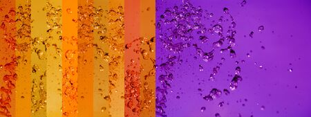instrospection: Orange, oranges, violet, purple, splah, water, drops, banners, background, backgrounds Stock Photo