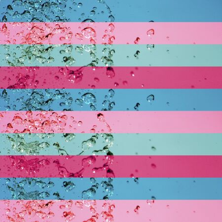 aura soma: Blue and pink pattern with stripes with water drops splash Stock Photo