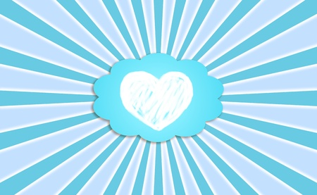 White pure heart in a blue dream cloud balloon in a radial background photo