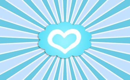 Blue background with a heart in a dream cloud balloon photo