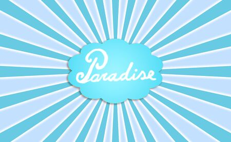 Paradise, concept, blue radial background photo