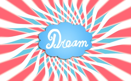 spiralized: Comic bubble of dreams with a big dream wrowing Stock Photo