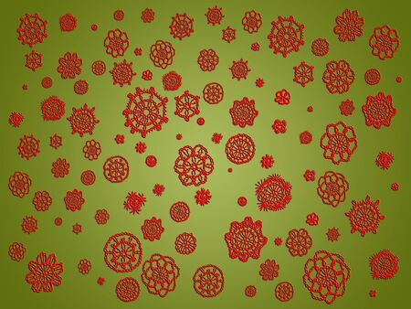 misteries: Olive green background with red crochet spots Stock Photo