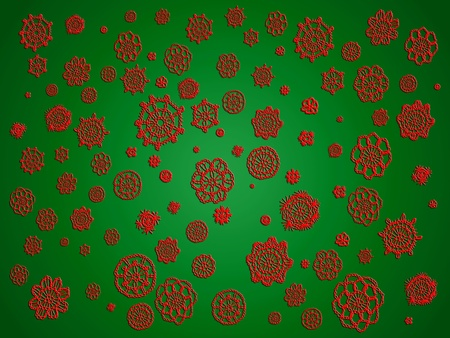 similitude: Christmas backdrop in red and green with romantic crochet Stock Photo