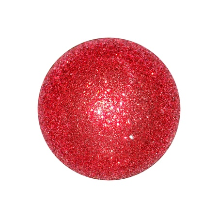 Isolated red xmas ball with brilliantine over white photo