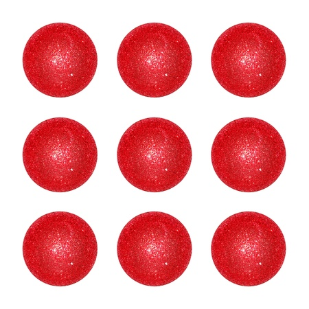 Nine, red, ball, balls, Christmas, bright, isolated Stock Photo