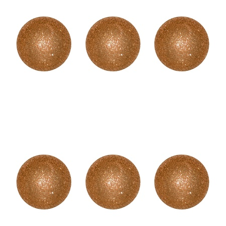 Six, balls, dots, brilliantine, celebration, ornamental, dice, brown Stock Photo - 12998366