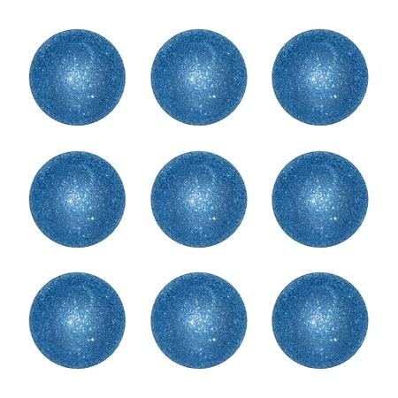 competences: Nine blue brilliant Christmas balls isolated over white background
