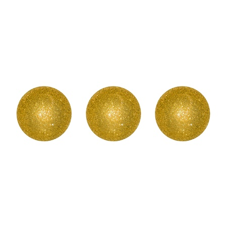 Three gold Christmas balls like a creative different dice face  photo