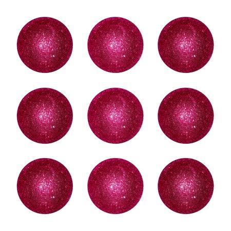 purpleish: Nine garnet red brilliantine xmas balls isolated over white background