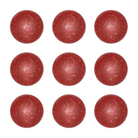 Nine sober red xmas balls isolated on white backdrop Stock Photo - 12998449
