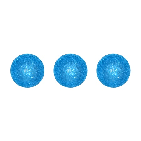 Three blue brilliantine suspension points isolated over white background photo