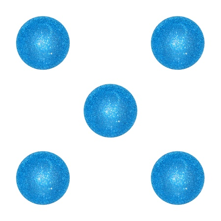cian: Five points, result, dice, gaming, blue, cian, white Stock Photo