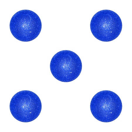 Five Christmas brilliant indigo blue balls like a dice Stock Photo - 12998434