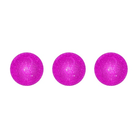 Three purpleish pink xmas balls over white photo