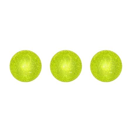 Three brilliantine lemon green xmas balls isolated on white background photo