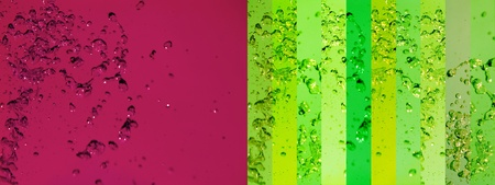 Redish purple, dark magenta, light green, banners, background, splash, water, drops