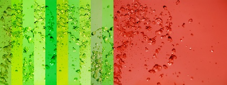 instrospection: Orange and light green backgrounds with drops splash