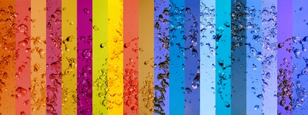 Rainbow, banner, banners, background, water, drops, splash, colorful